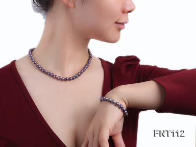 7-8mm Dark-purple Freshwater Pearl Necklace and Bracelet Set FNT112 Image 1