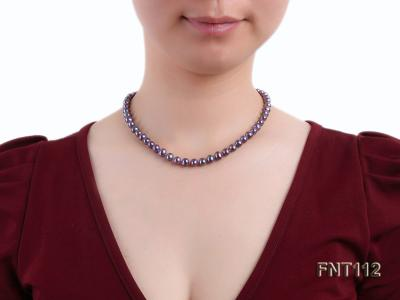 7-8mm Dark-purple Freshwater Pearl Necklace and Bracelet Set FNT112 Image 8