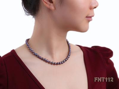 7-8mm Dark-purple Freshwater Pearl Necklace and Bracelet Set FNT112 Image 9