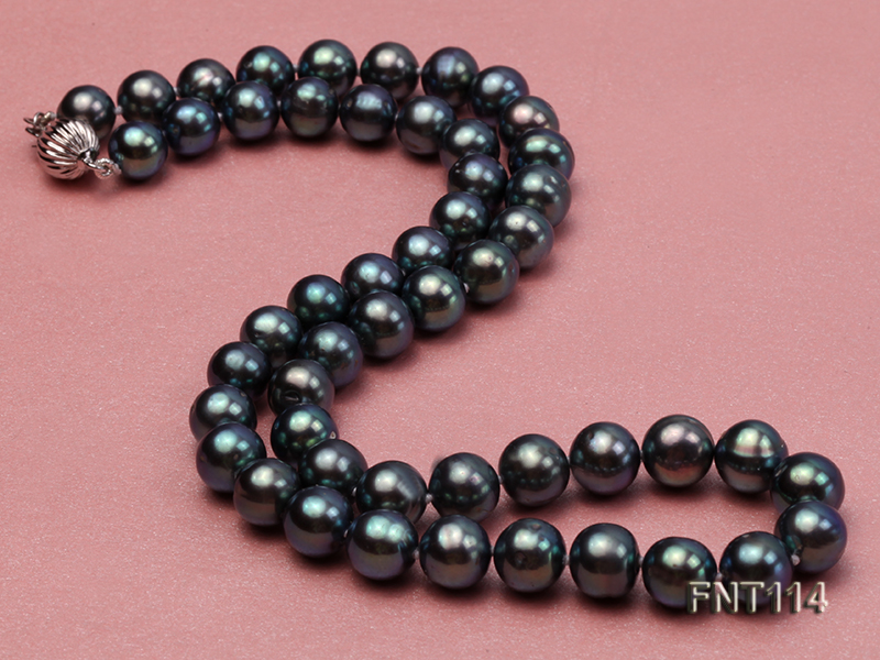 8-8.5mm Black Freshwater Pearl Necklace, Bracelet and Earrings Set big Image 5