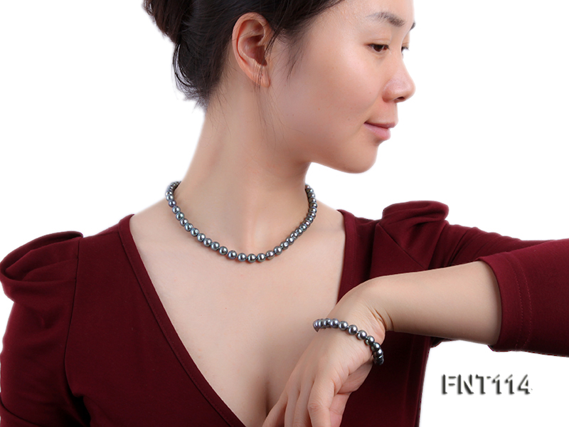 8-8.5mm Black Freshwater Pearl Necklace, Bracelet and Earrings Set big Image 7