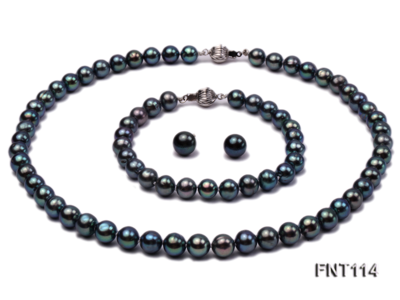 8-8.5mm Black Freshwater Pearl Necklace, Bracelet and Earrings Set big Image 1