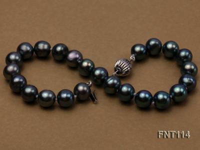 8-8.5mm Black Freshwater Pearl Necklace, Bracelet and Earrings Set FNT114 Image 4