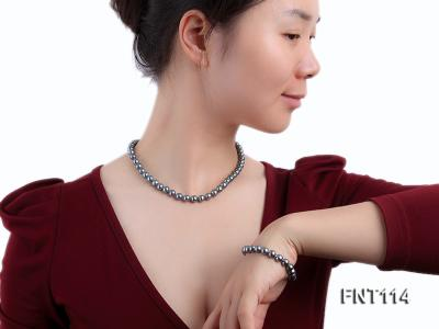 8-8.5mm Black Freshwater Pearl Necklace, Bracelet and Earrings Set FNT114 Image 7