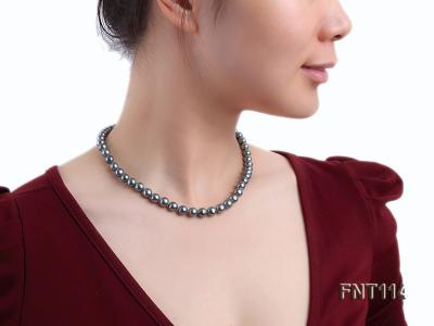 8-8.5mm Black Freshwater Pearl Necklace, Bracelet and Earrings Set FNT114 Image 9
