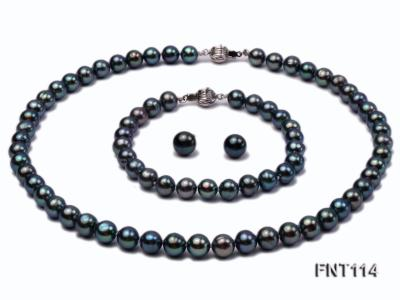 8-8.5mm Black Freshwater Pearl Necklace, Bracelet and Earrings Set FNT114 Image 1