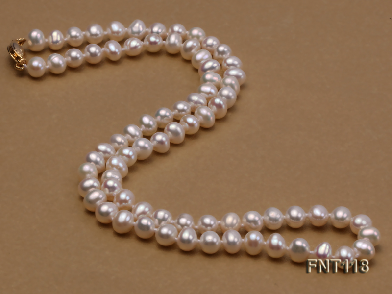 6-6.5mm White Freshwater Pearl Necklace, Bracelet and Stud Earrings Set big Image 6
