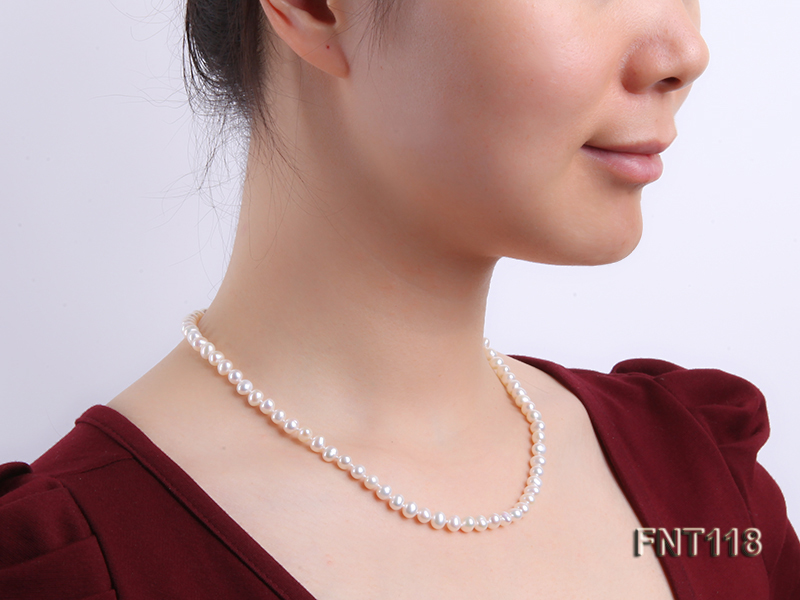 6-6.5mm White Freshwater Pearl Necklace, Bracelet and Stud Earrings Set big Image 12