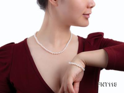 6-6.5mm White Freshwater Pearl Necklace, Bracelet and Stud Earrings Set FNT118 Image 10
