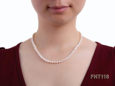6-6.5mm White Freshwater Pearl Necklace, Bracelet and Stud Earrings Set FNT118 Image 11