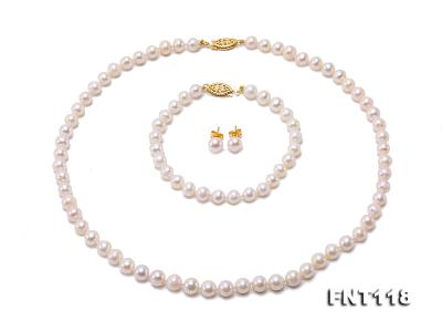 6-6.5mm White Freshwater Pearl Necklace, Bracelet and Stud Earrings Set FNT118 Image 2