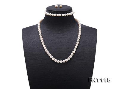 6-6.5mm White Freshwater Pearl Necklace, Bracelet and Stud Earrings Set FNT118 Image 1
