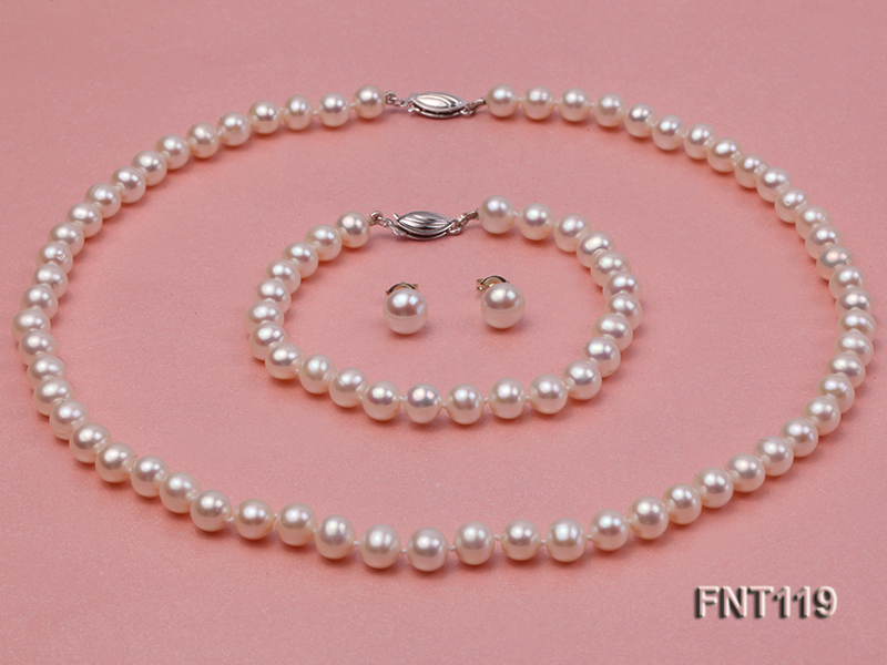 6.5-7mm White Freshwater Pearl Necklace, Bracelet and Stud Earrings Set big Image 3