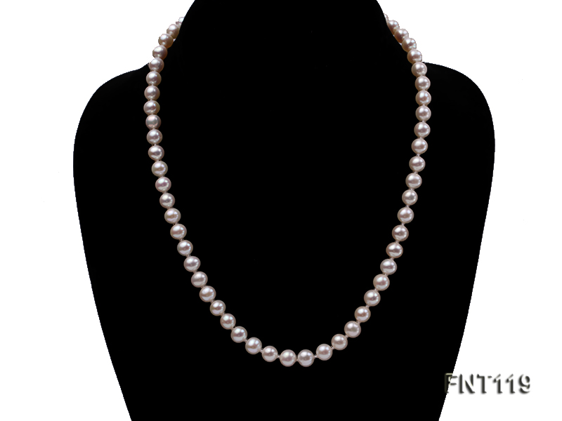6.5-7mm White Freshwater Pearl Necklace, Bracelet and Stud Earrings Set big Image 4