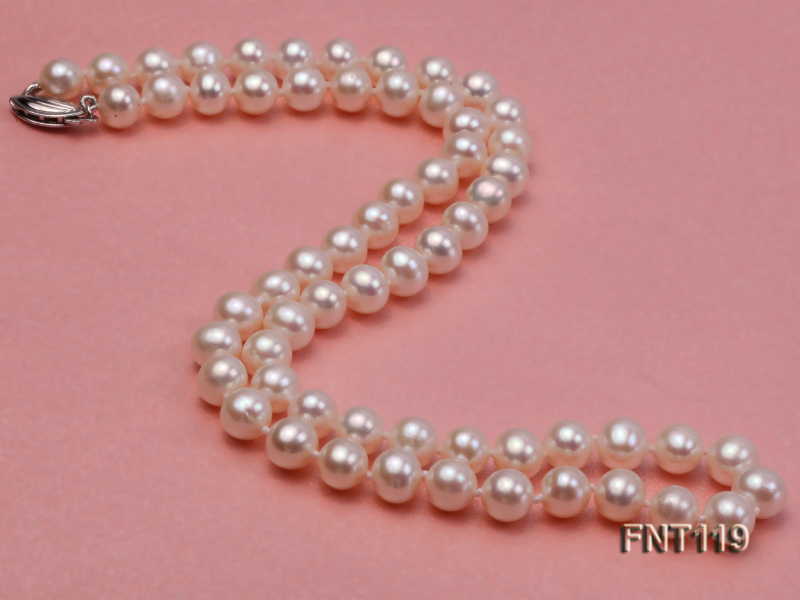 6.5-7mm White Freshwater Pearl Necklace, Bracelet and Stud Earrings Set big Image 7