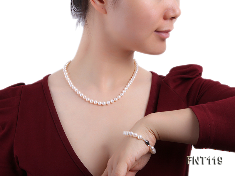 6.5-7mm White Freshwater Pearl Necklace, Bracelet and Stud Earrings Set big Image 19