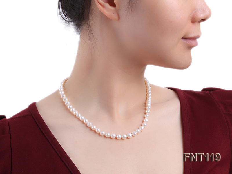 6.5-7mm White Freshwater Pearl Necklace, Bracelet and Stud Earrings Set big Image 21