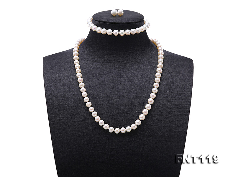 6.5-7mm White Freshwater Pearl Necklace, Bracelet and Stud Earrings Set big Image 1