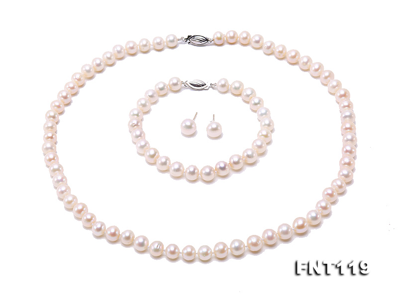 6.5-7mm White Freshwater Pearl Necklace, Bracelet and Stud Earrings Set big Image 2