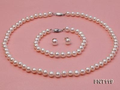 6.5-7mm White Freshwater Pearl Necklace, Bracelet and Stud Earrings Set FNT119 Image 3