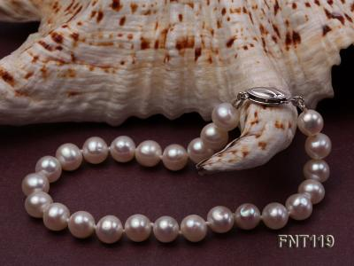 6.5-7mm White Freshwater Pearl Necklace, Bracelet and Stud Earrings Set FNT119 Image 9