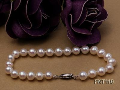6.5-7mm White Freshwater Pearl Necklace, Bracelet and Stud Earrings Set FNT119 Image 18