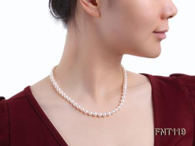 6.5-7mm White Freshwater Pearl Necklace, Bracelet and Stud Earrings Set FNT119 Image 21