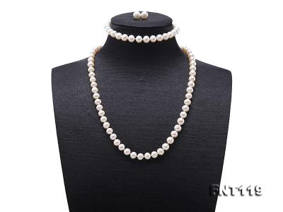 6.5-7mm White Freshwater Pearl Necklace, Bracelet and Stud Earrings Set FNT119 Image 1