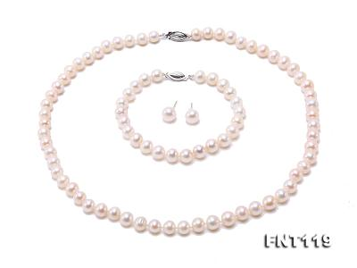 6.5-7mm White Freshwater Pearl Necklace, Bracelet and Stud Earrings Set FNT119 Image 2