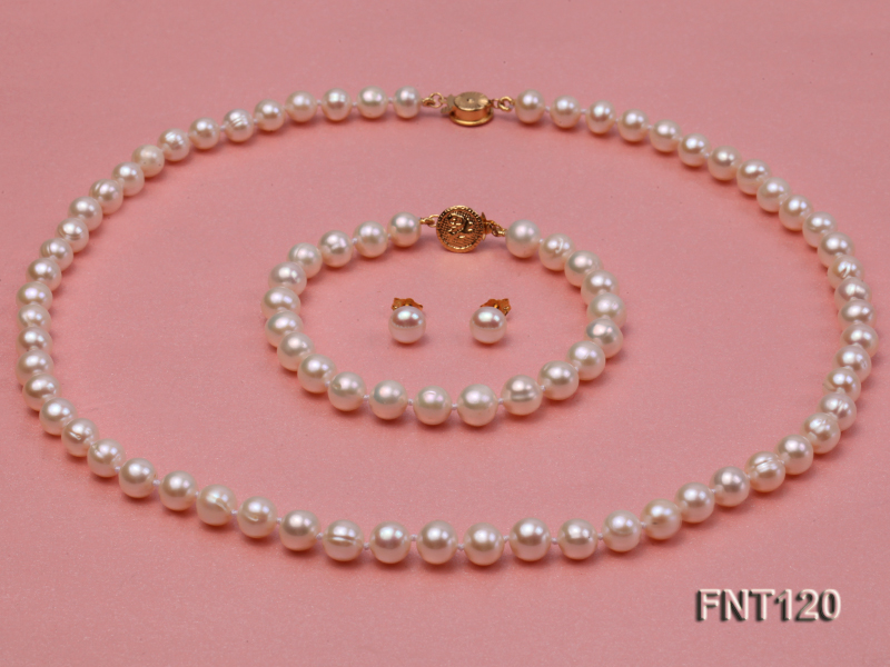 7-8mm White Freshwater Pearl Necklace, Bracelet and Stud Earrings Set big Image 1