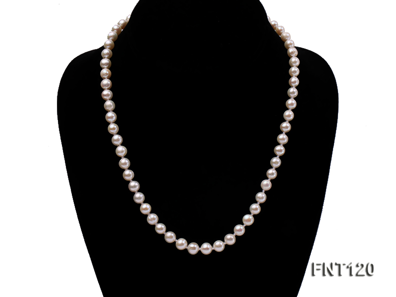 7-8mm White Freshwater Pearl Necklace, Bracelet and Stud Earrings Set big Image 2