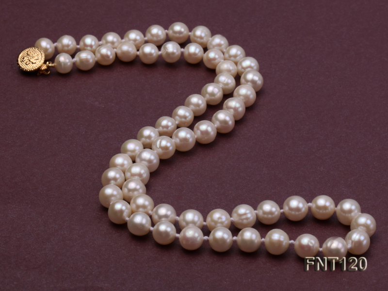 7-8mm White Freshwater Pearl Necklace, Bracelet and Stud Earrings Set big Image 4