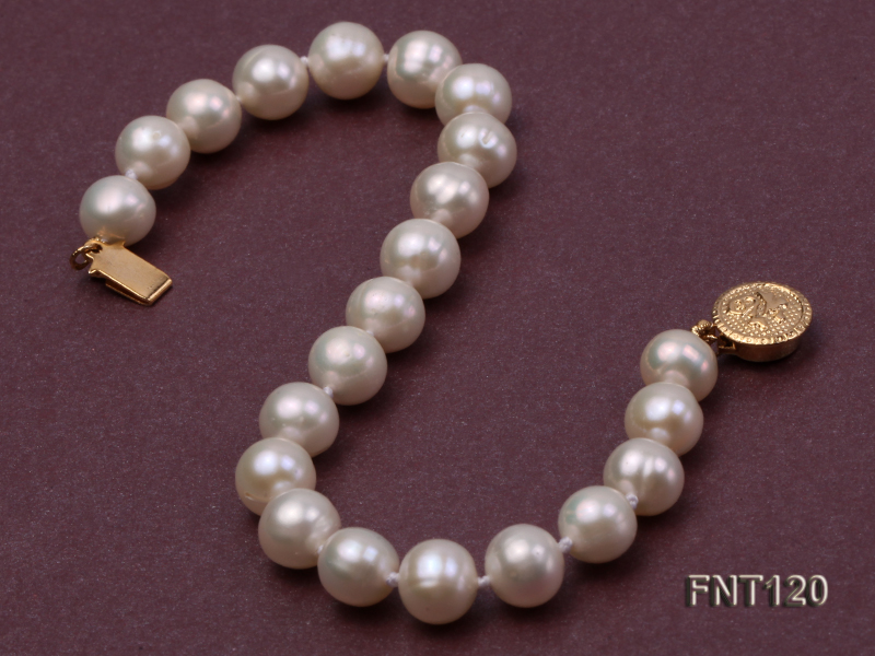 7-8mm White Freshwater Pearl Necklace, Bracelet and Stud Earrings Set big Image 5