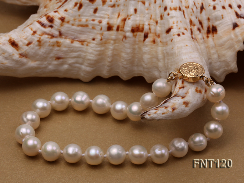7-8mm White Freshwater Pearl Necklace, Bracelet and Stud Earrings Set big Image 7