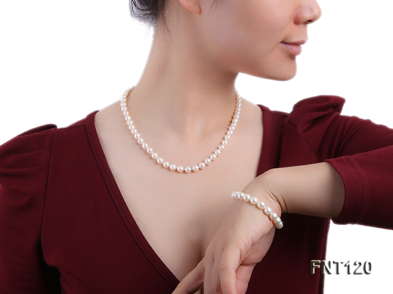 7-8mm White Freshwater Pearl Necklace, Bracelet and Stud Earrings Set big Image 8