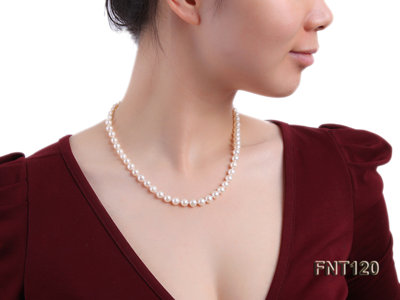 7-8mm White Freshwater Pearl Necklace, Bracelet and Stud Earrings Set big Image 10