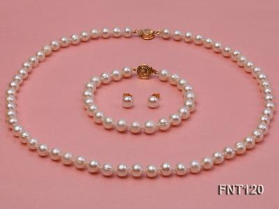7-8mm White Freshwater Pearl Necklace, Bracelet and Stud Earrings Set FNT120 Image 1