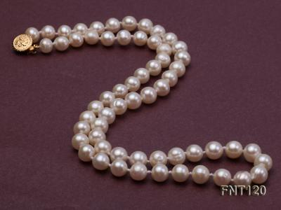 7-8mm White Freshwater Pearl Necklace, Bracelet and Stud Earrings Set FNT120 Image 4