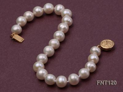 7-8mm White Freshwater Pearl Necklace, Bracelet and Stud Earrings Set FNT120 Image 5