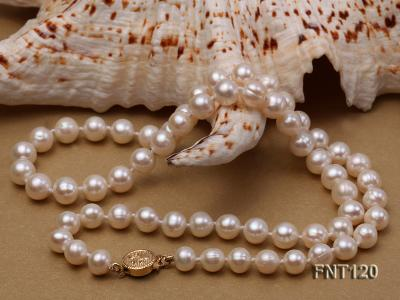 7-8mm White Freshwater Pearl Necklace, Bracelet and Stud Earrings Set FNT120 Image 6