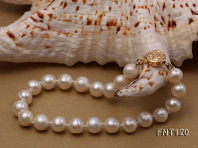 7-8mm White Freshwater Pearl Necklace, Bracelet and Stud Earrings Set FNT120 Image 7