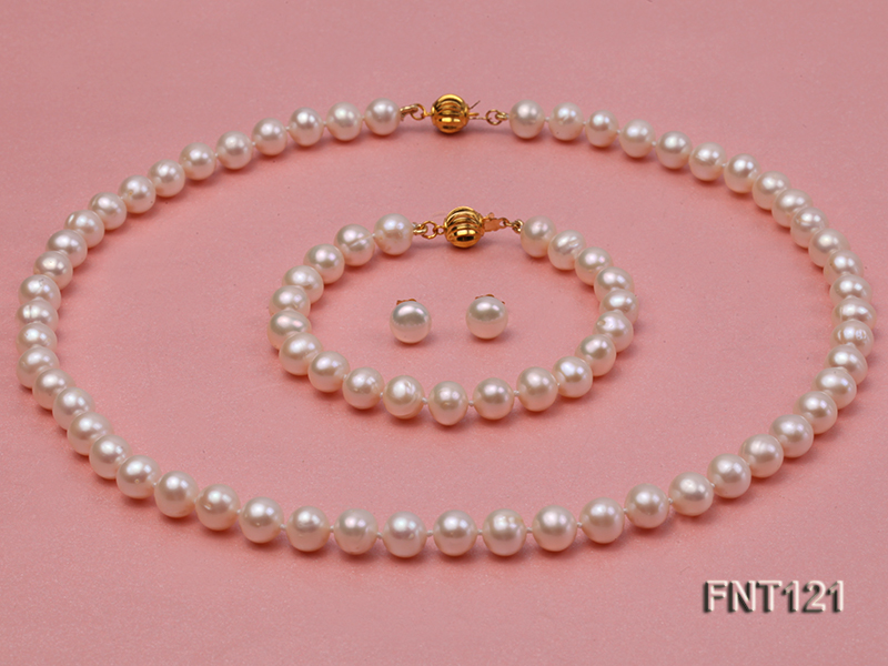 8-8.5mm White Freshwater Pearl Necklace, Bracelet and Stud Earrings Set big Image 1