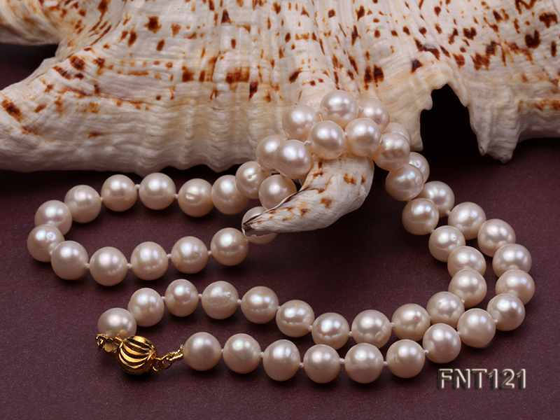 8-8.5mm White Freshwater Pearl Necklace, Bracelet and Stud Earrings Set big Image 5