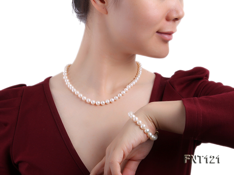 8-8.5mm White Freshwater Pearl Necklace, Bracelet and Stud Earrings Set big Image 8