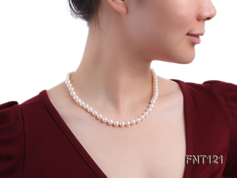 8-8.5mm White Freshwater Pearl Necklace, Bracelet and Stud Earrings Set big Image 10