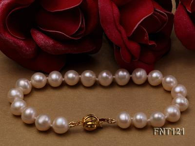 8-8.5mm White Freshwater Pearl Necklace, Bracelet and Stud Earrings Set FNT121 Image 4