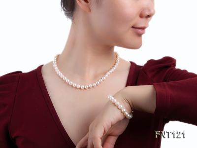 8-8.5mm White Freshwater Pearl Necklace, Bracelet and Stud Earrings Set FNT121 Image 8