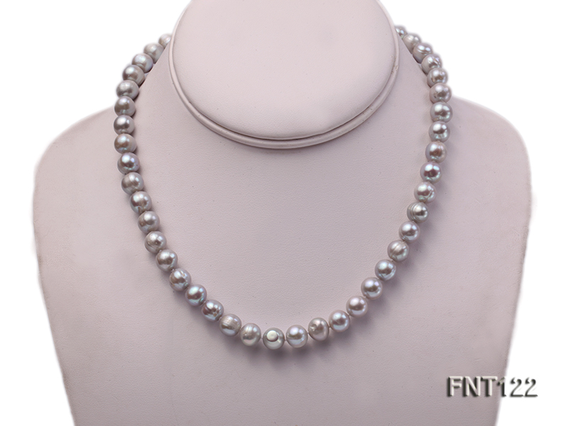 8-8.5mm Gray Freshwater Pearl Necklace, Bracelet and Earrings Set big Image 2