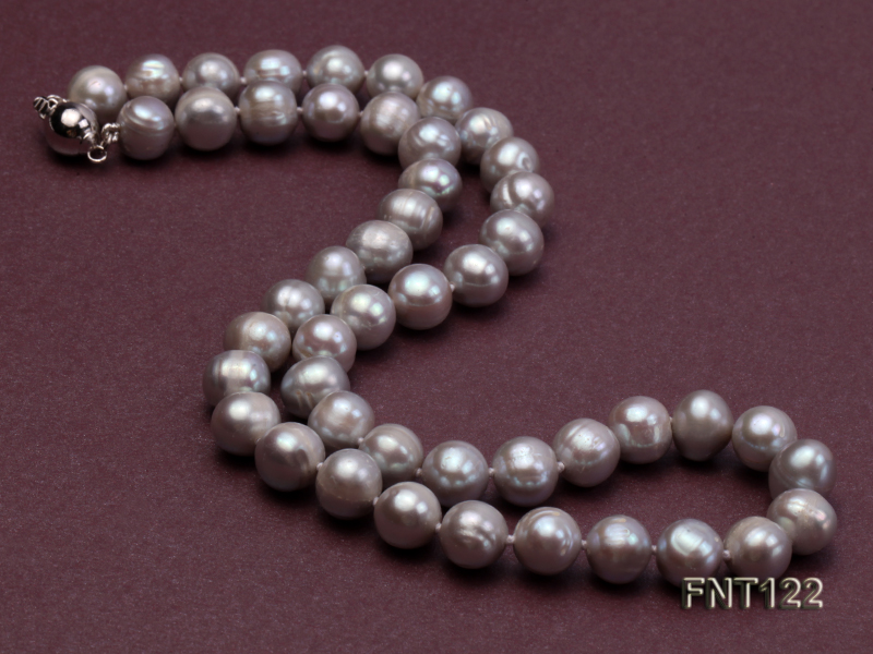 8-8.5mm Gray Freshwater Pearl Necklace, Bracelet and Earrings Set big Image 4
