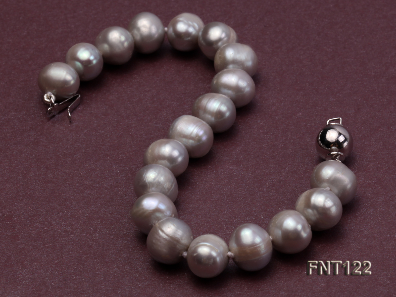 8-8.5mm Gray Freshwater Pearl Necklace, Bracelet and Earrings Set big Image 5